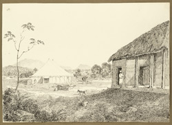 Encampment in the compound of the bungalow at Chas (Bihar). 7 February 1823